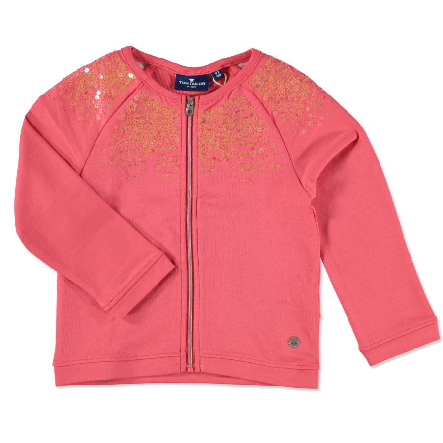 TOM TAILOR Girl s Sweat Jacket Sequins Flashy Coral