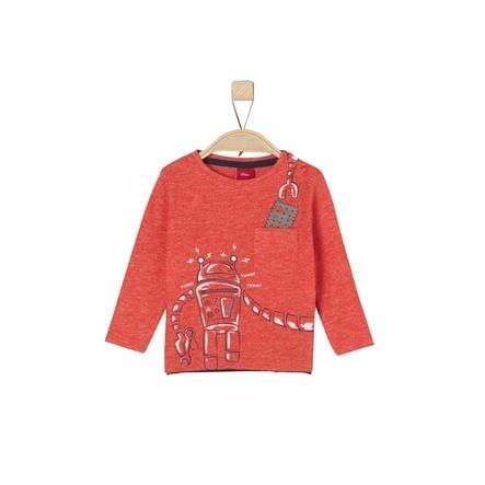 s.Oliver Boys Koszula z długim rękawem czerwony, wielobarwne paski.