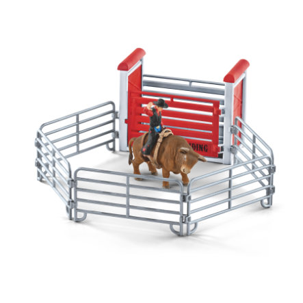 Schleich Toro del rodeo con cowboy 41419
