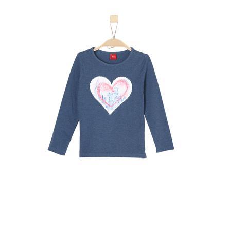 s.Oliver Girl koszulka z długim rękawem, niebieski melange