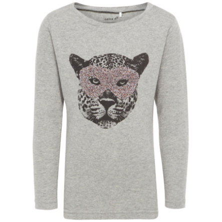 name it Girls Langarmshirt Getiger grey melange