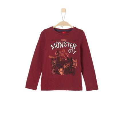 s.Oliver Boys Camisa de manga larga rojo oscuro