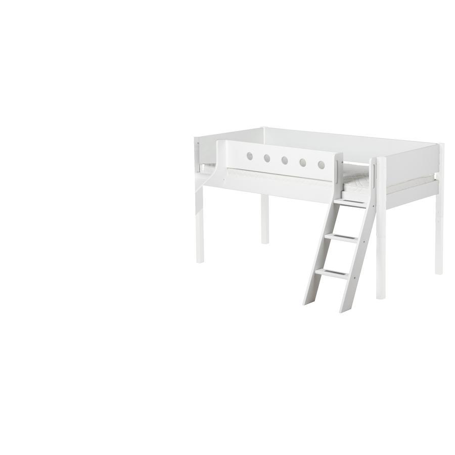 FLEXA Halbhochbett White 90 x 200 cm mit Schrägleiter und Rutsche weiß/weiß