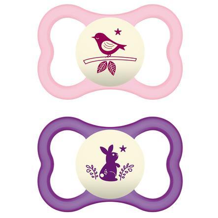 MAM siliconen fopspeen Air Night 16+ maanden in roze/paars