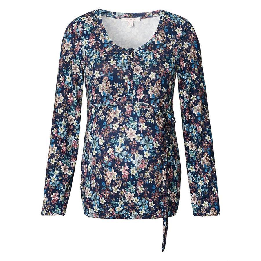 ESPRIT Kwiaty koszulki pielęgniarskiej Nocny niebieski
