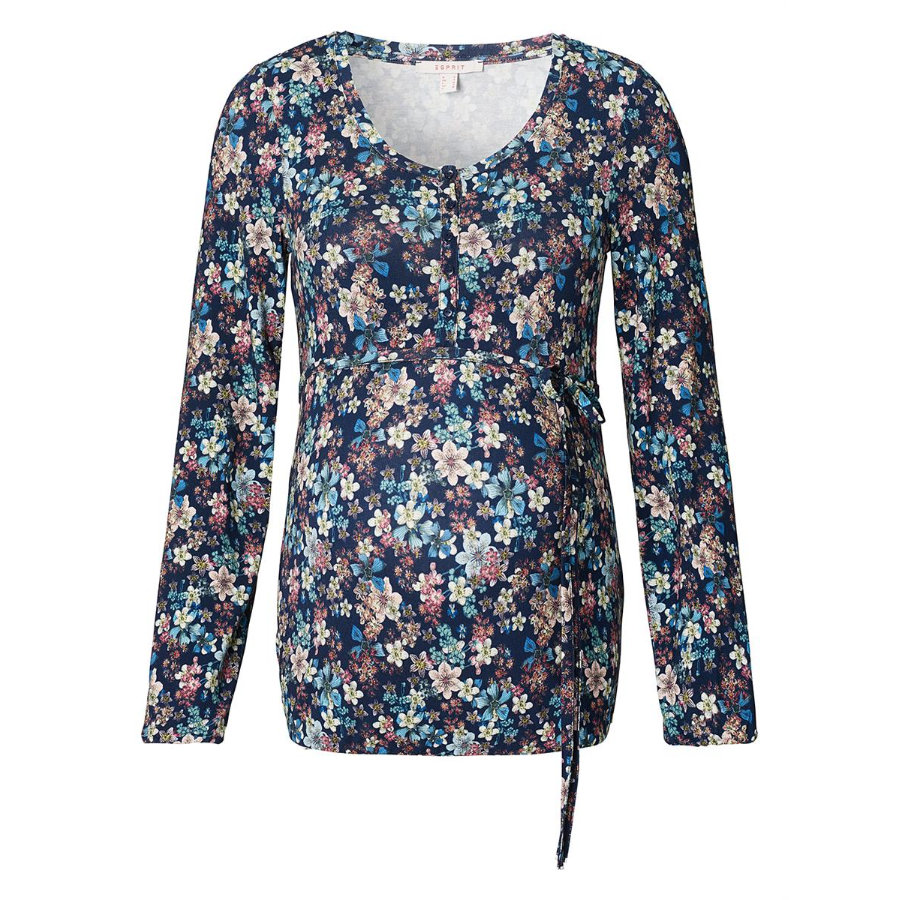 ESPRIT Stillshirt Blumen Night blue