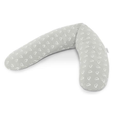 Theraline Das Komfort Stillkissen inkl Bezug 180 cm Herzen grau NEU