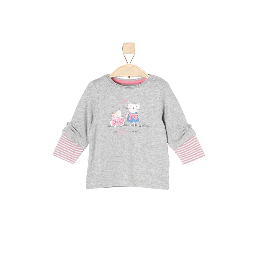 s.Oliver Girl s Camisa de manga larga gris claro mélange