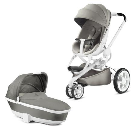 Quinny Kinderwagen Moodd Grey gravel - Gestell weiß mit Kinderwagenaufsatz