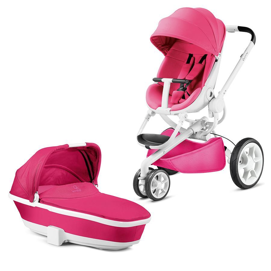 Quinny Kinderwagen Moodd Pink Passion - Gestell weiß mit Kinderwagenaufsatz