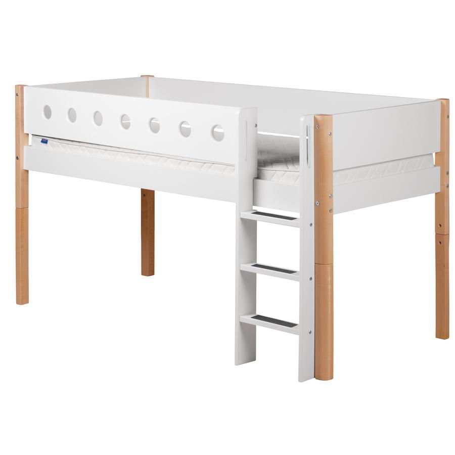 FLEXA Halbhochbett White 90 x 200 cm natur / weiß