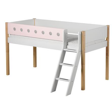 FLEXA Halbhochbett White 90 x 200 cm mit Schrägleiter natur / rosa