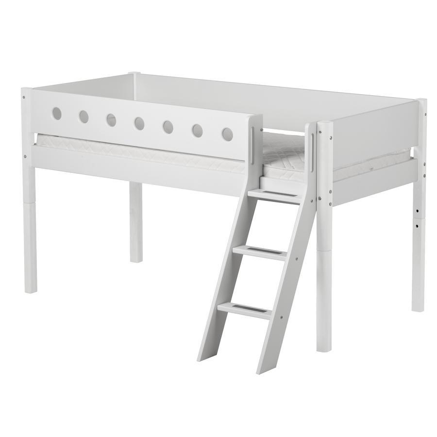 FLEXA Halbhochbett White 90 x 200 cm mit Schrägleiter weiß / weiß