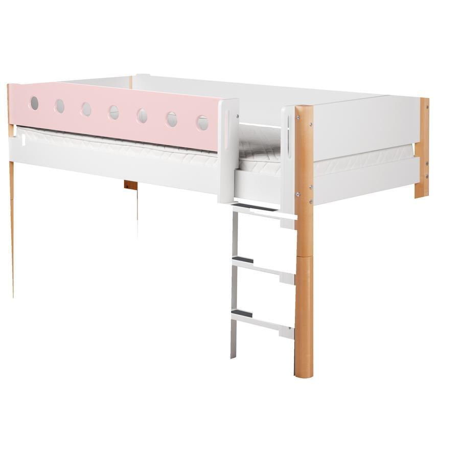 FLEXA Halbhochbett White 90 x 200 cm natur / rosa