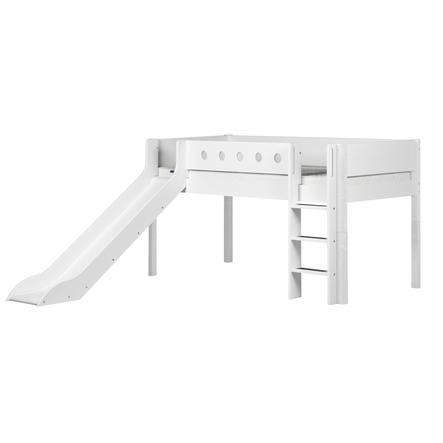 FLEXA Halbhochbett White 90 x 200 cm mit Rutsche weiß/weiß