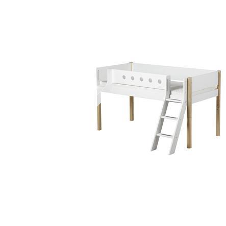 FLEXA Halbhochbett White 90 x 200 cm mit Schrägleiter und Rutsche natur / weiß