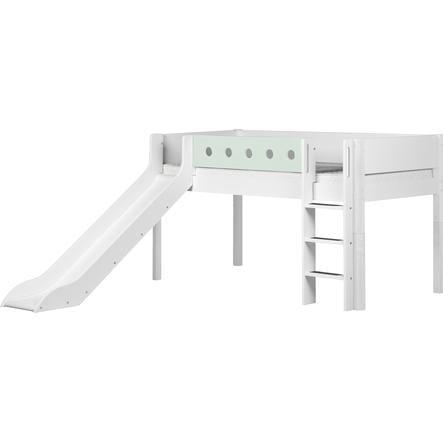 FLEXA Halbhochbett White 90 X 200 Cm Mit Rutsche Weiß/mintgrün