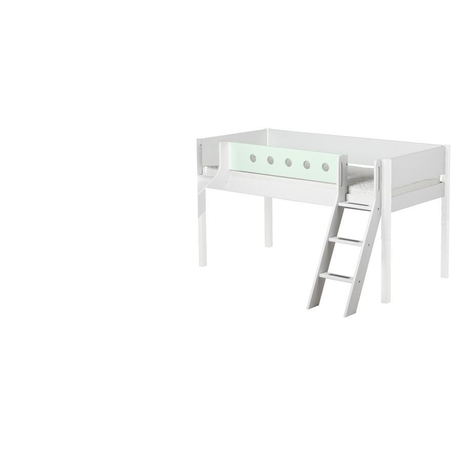 FLEXA Halbhochbett White 90 x 200 cm mit Schrägleiter und Rutsche weiß/mintgrün