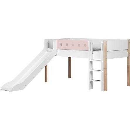 flexa halbhochbett white 90 x 200 cm mit rutsche natur rosa. Black Bedroom Furniture Sets. Home Design Ideas