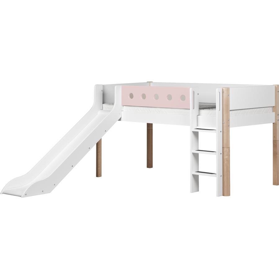 FLEXA Halbhochbett White 90 x 200 cm mit Rutsche natur / rosa