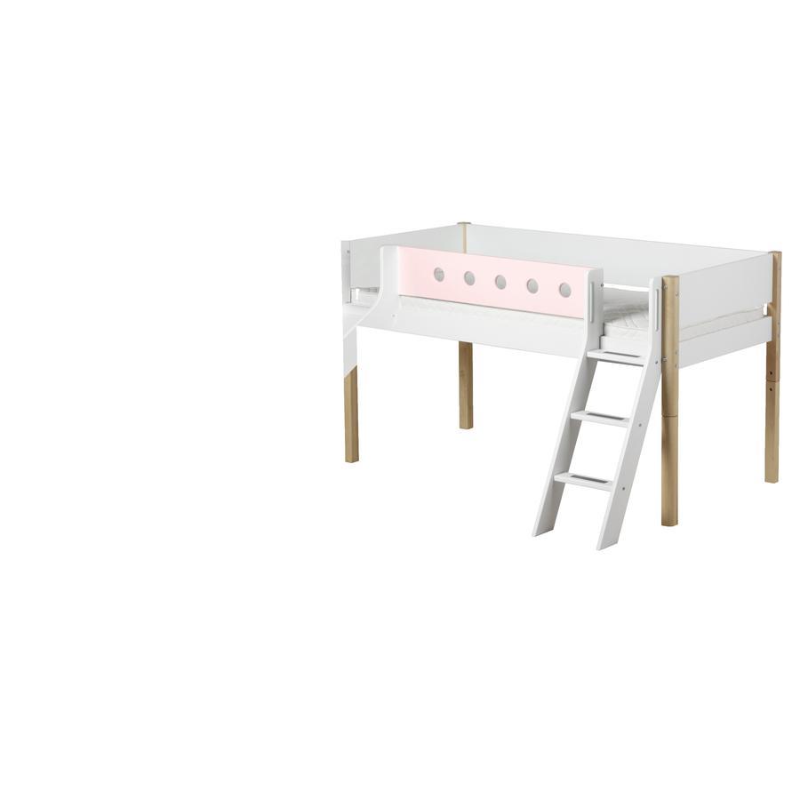 flexa halbhochbett white 90 x 200 cm mit schr gleiter und rutsche natur rosa. Black Bedroom Furniture Sets. Home Design Ideas