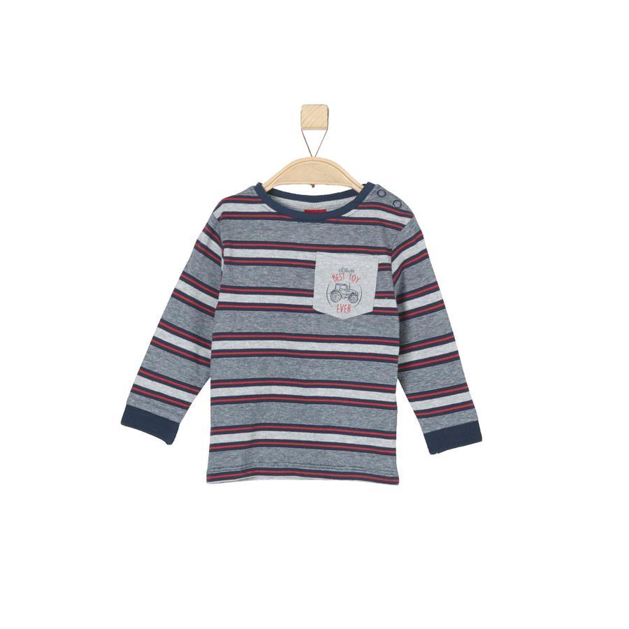 s.Oliver Boys Chemise manches longues à rayures bleu foncé