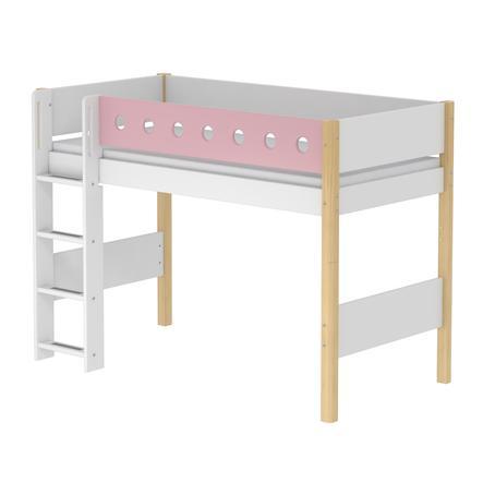 FLEXA Mittelhochbett White 90 x 200 cm natur / rosa