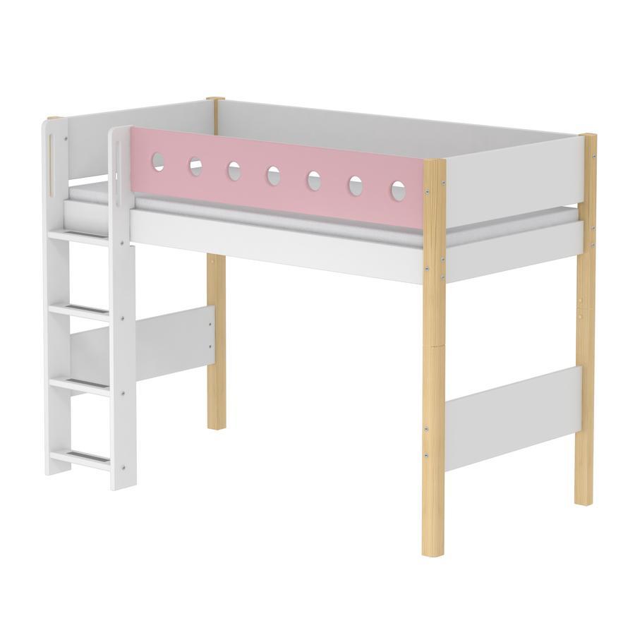 FLEXA Mittelhochbett White 90 x 200 cm natur / rosa - babymarkt.de