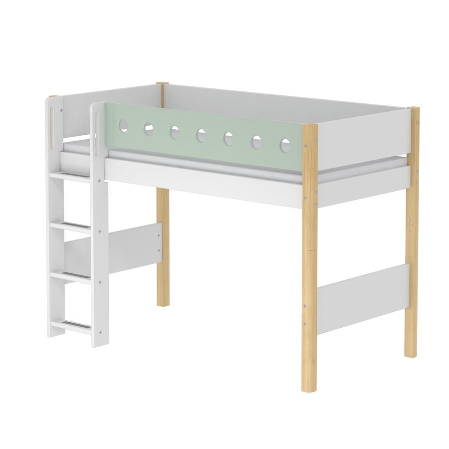 FLEXA Mittelhochbett White 90 x 200 cm natur / mintgrün