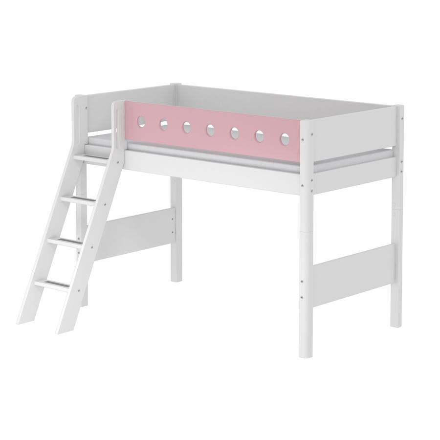 FLEXA Mittelhochbett White 90 x 200 cm mit Schrägleiter weiß / rosa ...