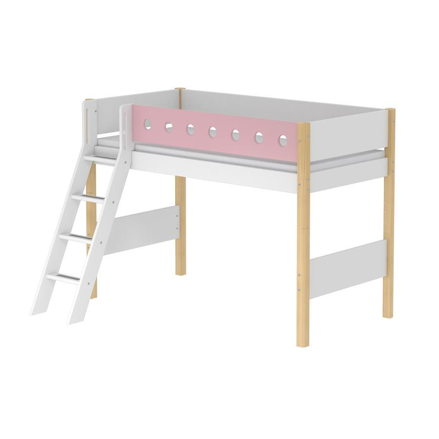 FLEXA Mittelhochbett White 90 x 200 cm mit Schrägleiter natur / rosa