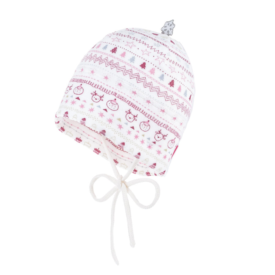maximo Girls  Beanie Nickyplüsch wollweiß-bordeaux