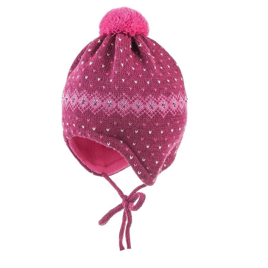 maximo Girls Mütze zum Binden Pünktchenjacquard pinkmelange