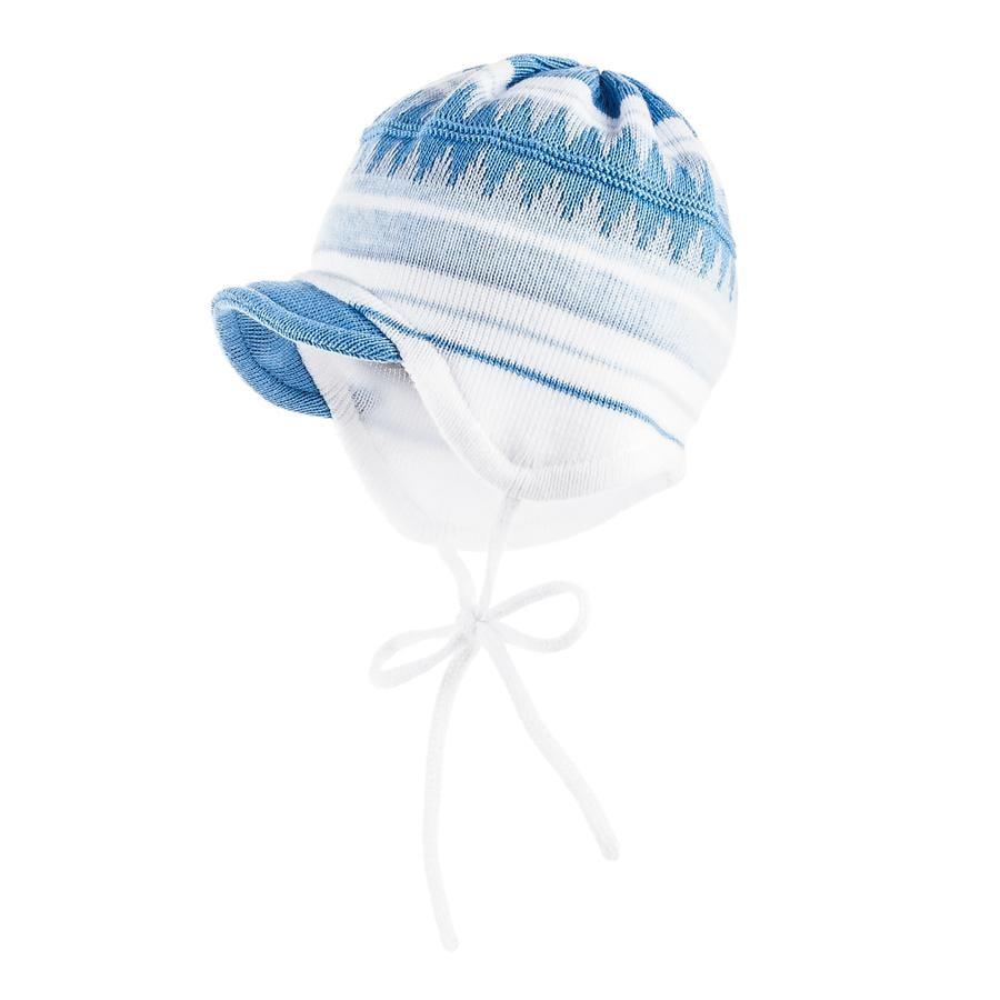 maximo Boys Mütze Ringel mit Zacken artikweiß/robbia blue