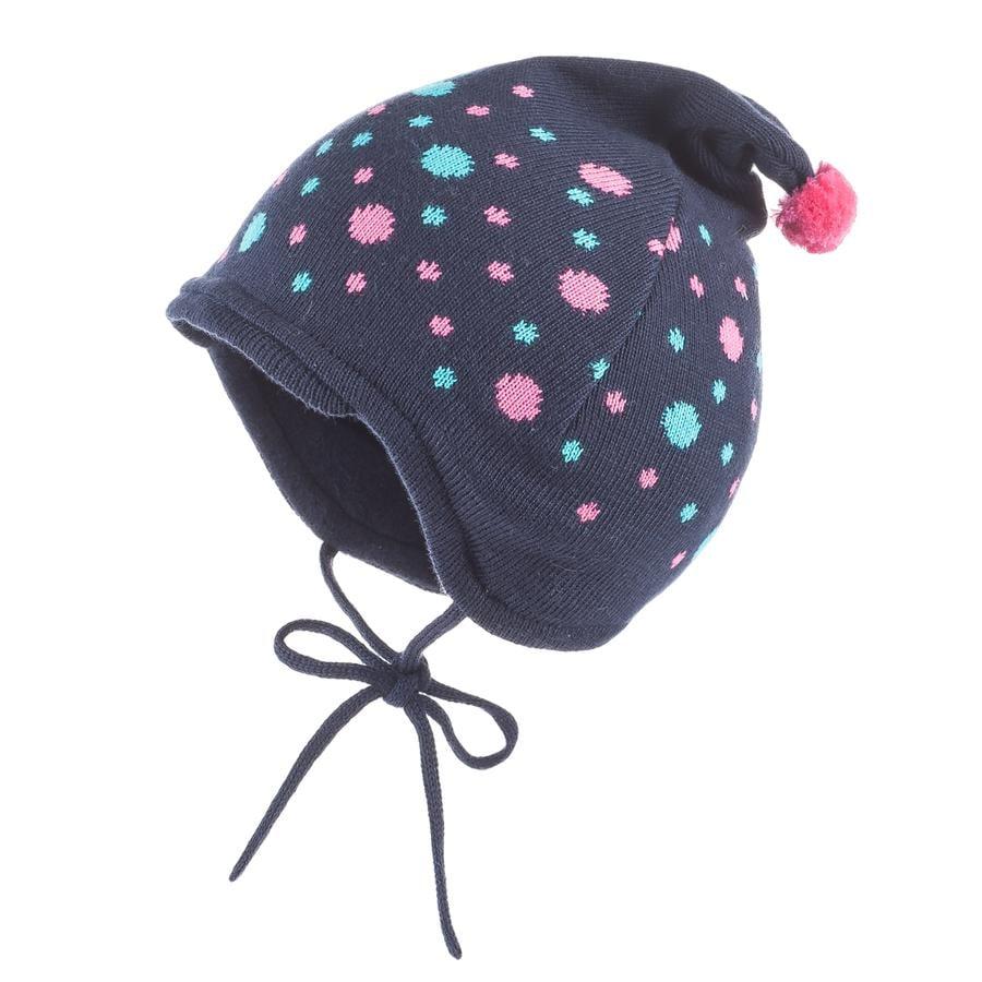 maximo Girl Bonnet pointu Jacquard à pointes bleu marine / rose fandango