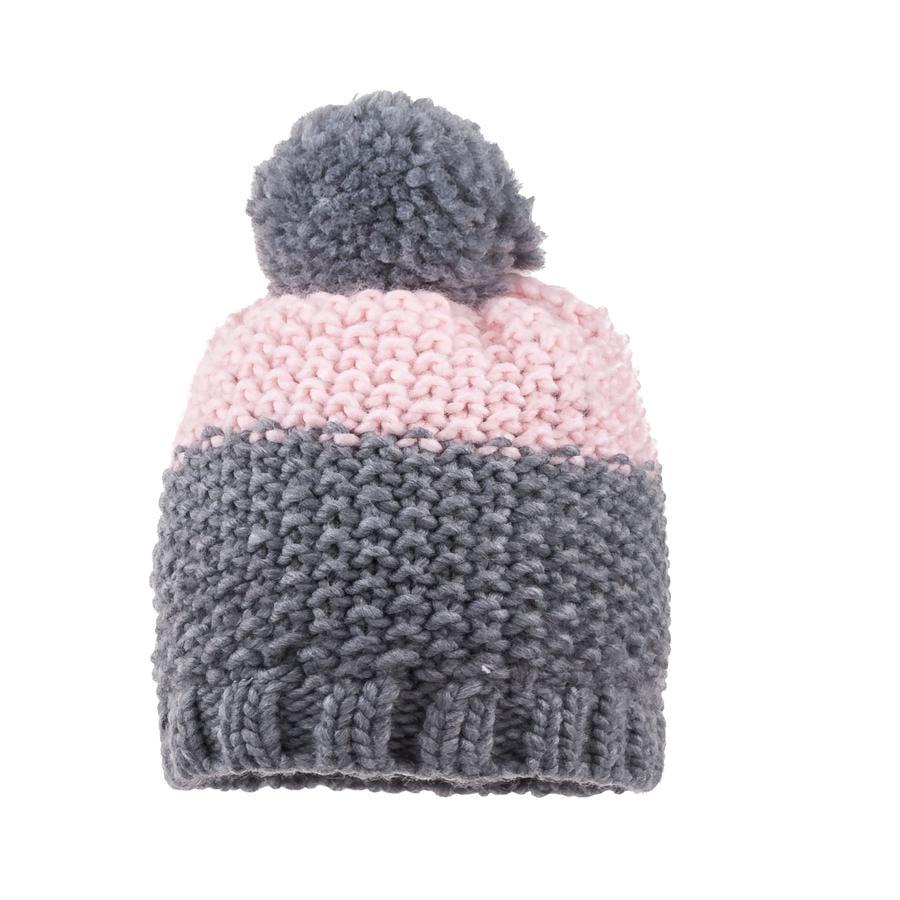 maximo Girl s Cap Pompon gris medio mélange/ rosa pálido
