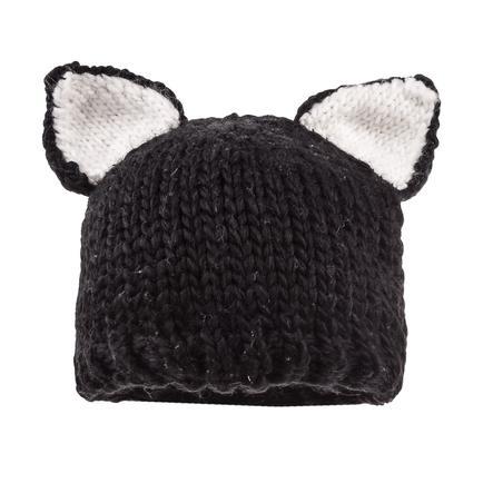 maximo Girls Mütze Katzenohren schwarz