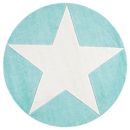 LIVONE Gulvtæppe Happy Rugs Star rund mint, 160 cm