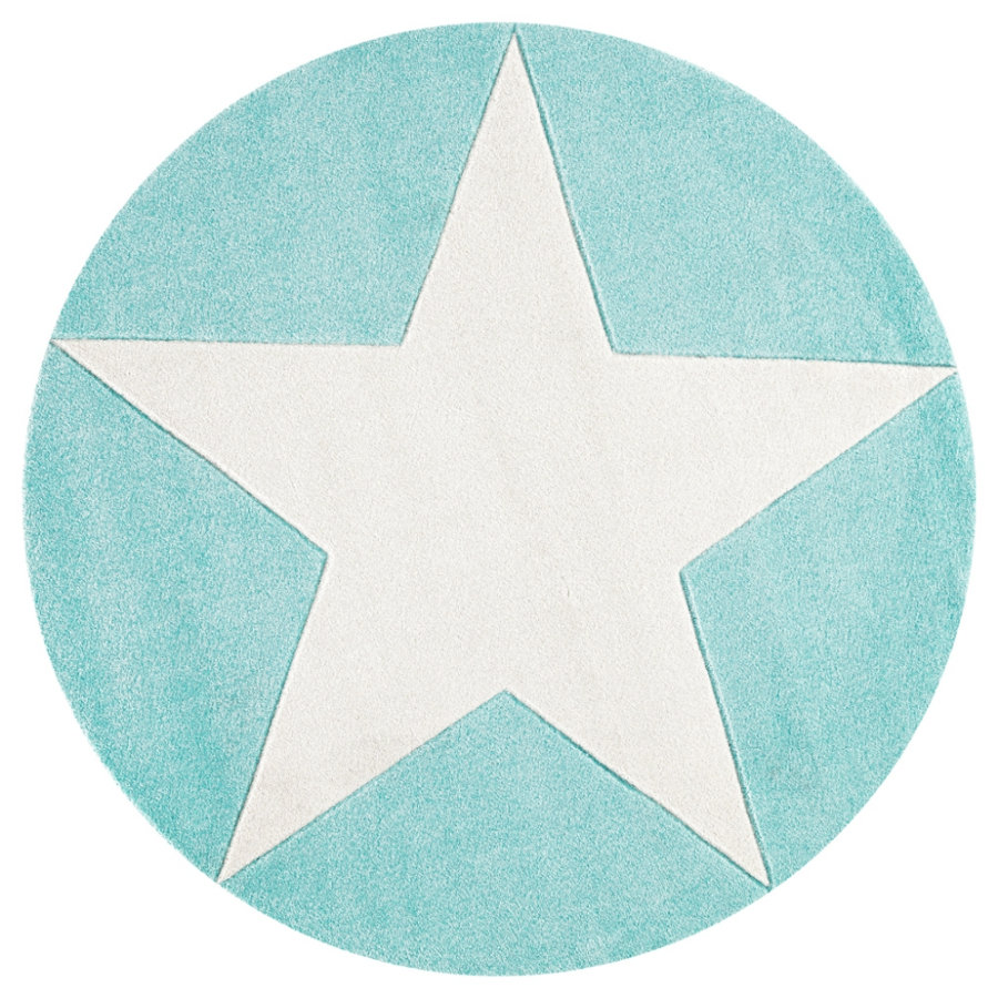 LIVONE Barnmatta Happy Rugs Star rund mint, 160 cm