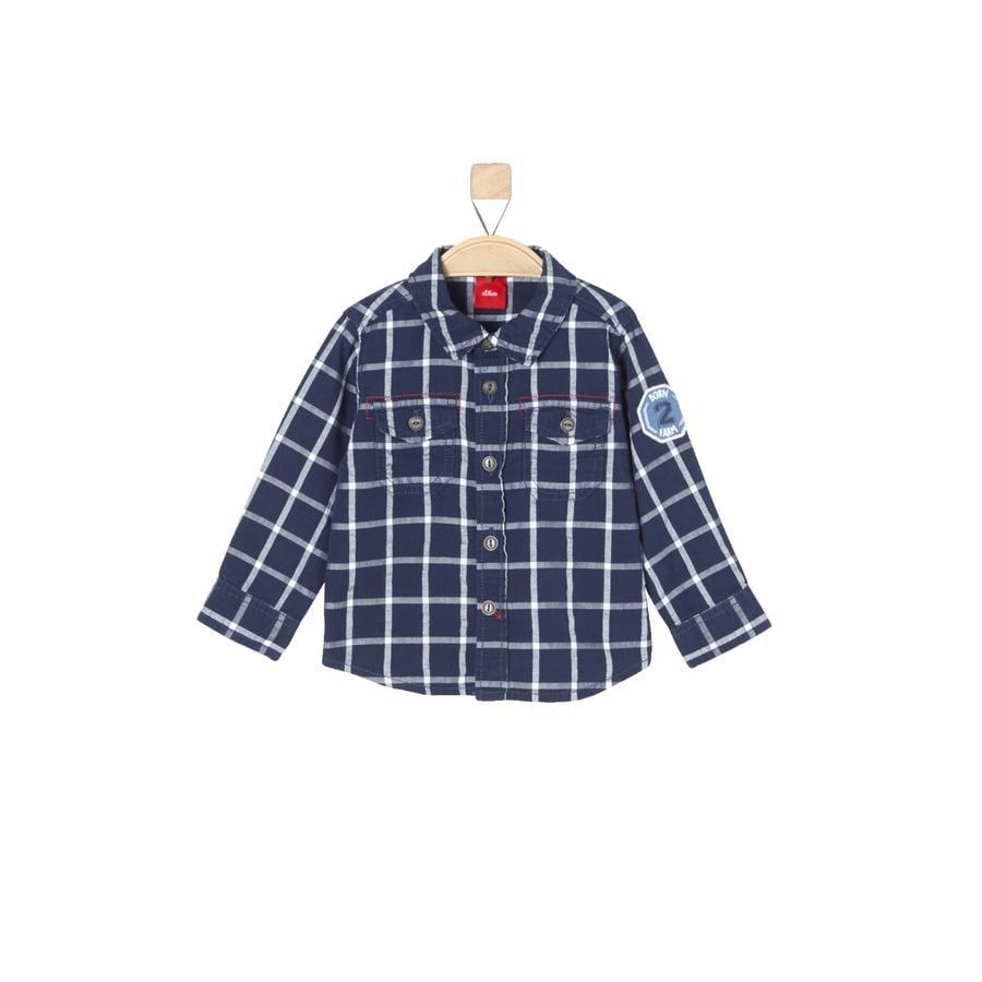 s.Oliver Boys Chemise manches longues à carreaux bleu indigo