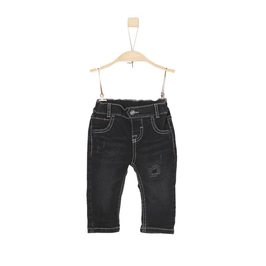 s.Oliver Boys Spodnie szare/czarne rozciągliwe z denimu