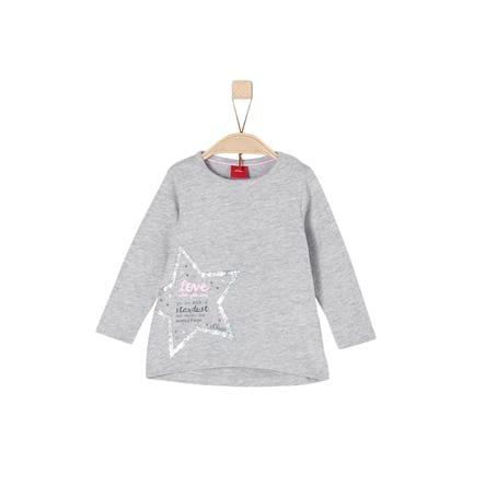 s.Oliver Girl s Koszula z długim rękawem jasno-szara melanżowa