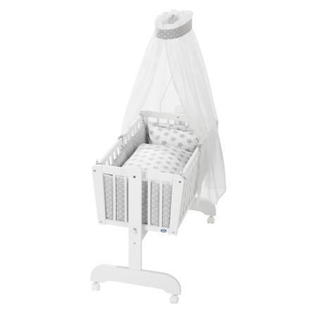 Alvi® Komplettpendelwiege Sina weiß 608-9 Stars silber
