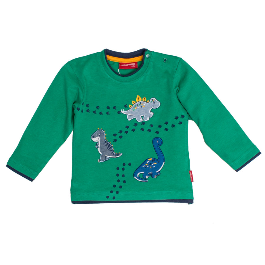 SALT AND PEPPER Langarmshirt Boys Dino drei green melange