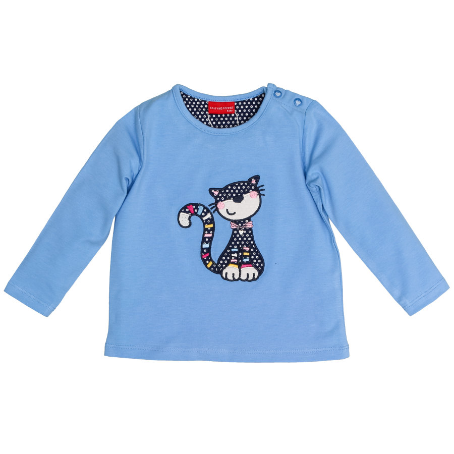 SALT AND PEPPER Langarmshirt Girls Funny Katze cornflower