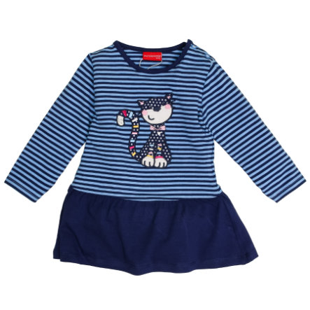 SALT AND PEPPER Girls Kleid Funny stripes Katze cornflower