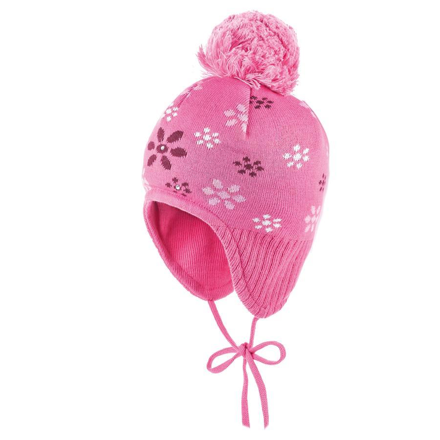 maximo Girls Mütze Blumen Strass pink