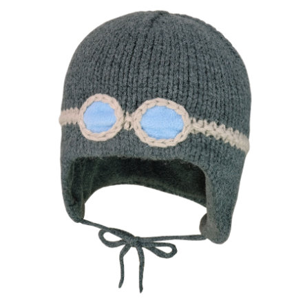 maximo Inkamütze Brille Fleecestreifen carbon melange