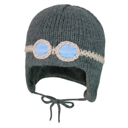 maximo Inkamütze glasses fleece stripes carbon melange