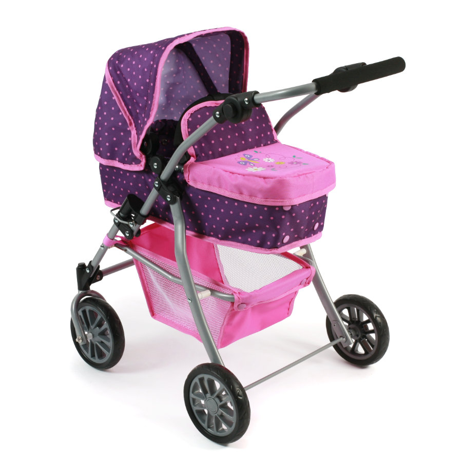 BAYER CHIC 2000 Kombi-Puppenwagen SPEEDY dots purple pink